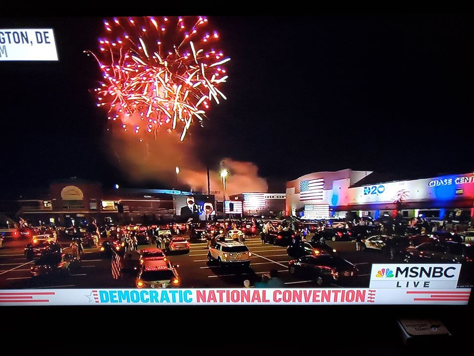 Photo of the parking lot in Wilmington, Delaware on the last night of the 2020 DNC