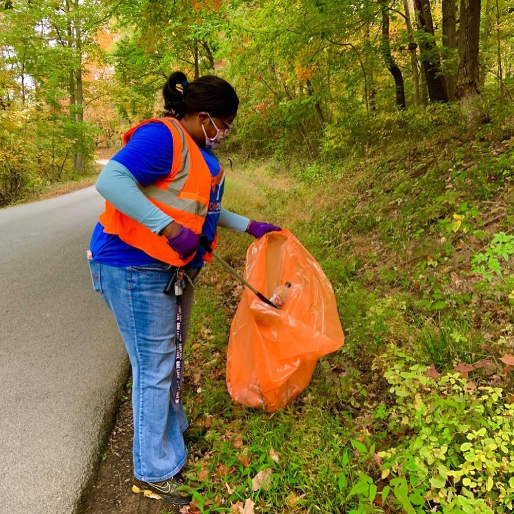 Photo of Del. Danielle Walker at the litter cleanup